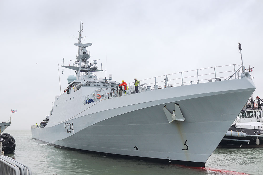 HMS Spey sails into Portsmouth Naval base for the first time. Image: UK Crown Copyright 2020